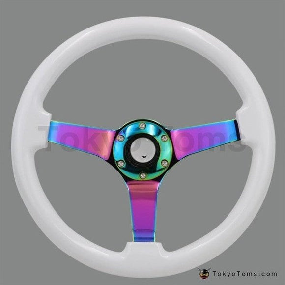 Lollipop Steering Wheel White Neo Chrome