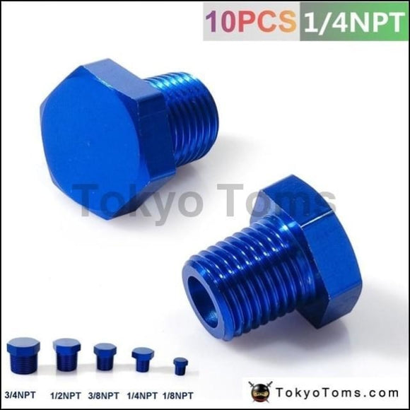 1/4Npt Aluminum Hex Head Male Port Plug Block Off Fitting Adapter Blue Tk-Ft14Npt Oil Cooler