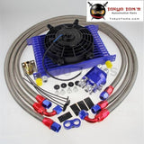 "15 Row 10An Universal Engine Transmission Oil Cooler +Relocation Adapter Kit+ 7"" Electric Fan Kit Black"