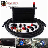 15 Row 262mm AN10 Universal Engine Oil Cooler Trust Type+M20Xp1.5 / 3/4 X 16 Filter Relocation+3M AN10 Oil Line Kit  Black