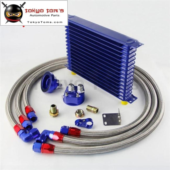 15 Row 262Mm An10 Universal Engine Transmission Oil Cooler Trust Type + Filter Adapter Kit