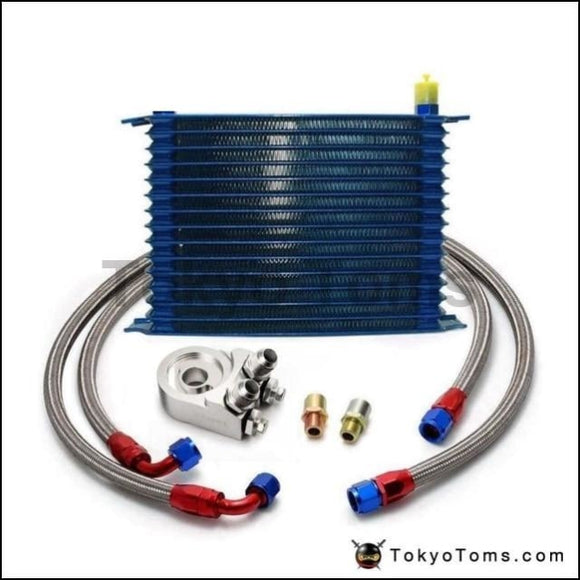 15 Row An-10An Universal Engine Oil Cooler Kit + Aluminum Hose End