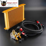 15 Row Thermostat Adaptor Engine Racing Trust Oil Cooler Kit For Car/truck Blue/ Black/ Gold
