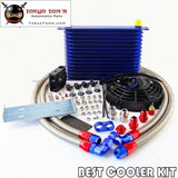 15 Row Trust Oil Cooler Thermostat Sandwich Plate Kit+7 Electric Fan Kit