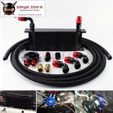 16 Row 248mm AN10 Universal Engine Oil Cooler British Type+M20Xp1.5 / 3/4 X 16 Filter Relocation+3M AN10 Oil Line Kit  Black