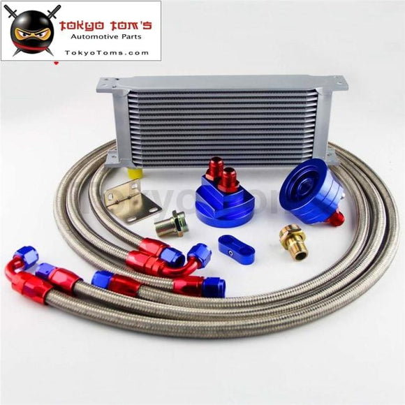 16 Row 248Mm An8 Universal Engine Transmission Oil Cooler British Type + Filter Adapter Kit