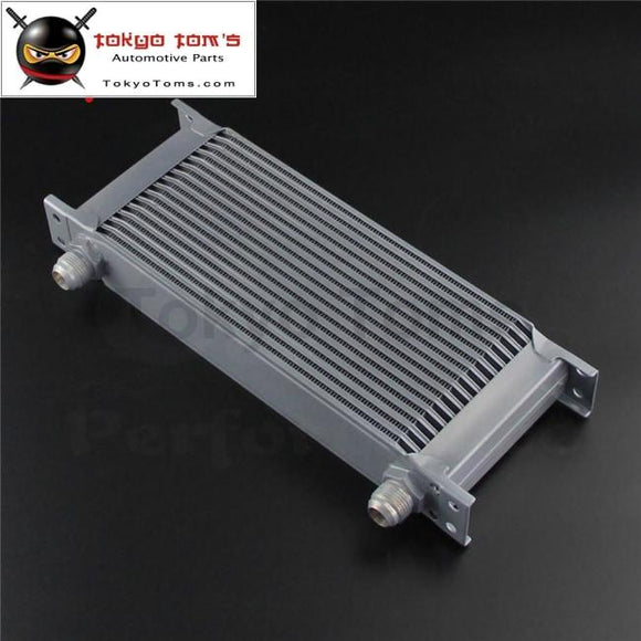 16 Row An10 10An Universal Aluminum Engine Transmission Racing Oil Cooler Mocal Style Black / Silver