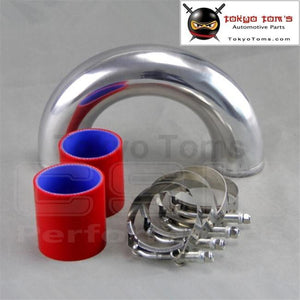 180 Degree 50Mm 2 Aluminum Turbo Intercooler Tube Pipe +Red Silicon Hose+Clamps Piping