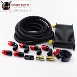 19 Row 248mm AN10 Universal Engine Oil Cooler British Type+M20Xp1.5 / 3/4 X 16 Filter Relocation+3M AN10 Oil Line Kit  Black