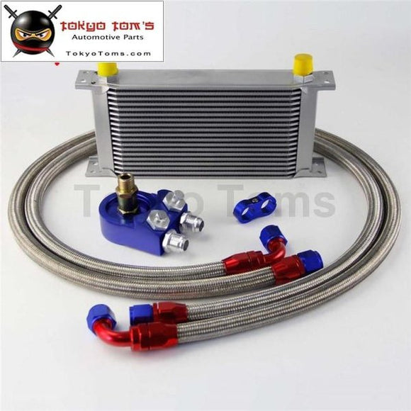 19 Row 248Mm An10 Universal Engine Transmission Oil Cooler British Type + Aluminum Filter Hose End