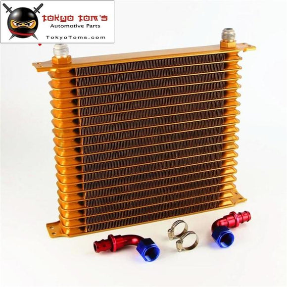 19 Row An10 Universal Engine Oil Cooler 10.6X12X2 Trust Type +2Pcs Fittings Gold