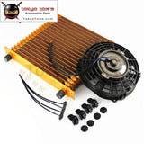 19 Row An10 Universal Engine Oil Cooler 10.6X12X2 Trust Type +7 Electric Fan Gold
