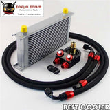 19 Row An8 Universal Engine Transmission Oil Cooler Kit+Filter Adapter Hose End