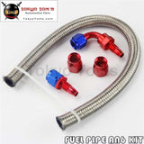 1Ft An6 Stainess Steel Braided Oil Fuel Hose+ 90 Deg & Straight Swivel Fittings