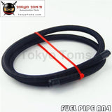 1M 3 Ft 4An Nylon Steel/ Stainess Braided Fuel Oil Gas Hose Line An 4 -4 Black / Silver