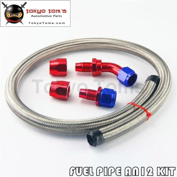 1M 3Ft An12 Stainess Nylon Steel Braided Oil Fuel Line + 45 Deg & 0 Swivel Fittings