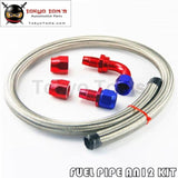 1M 3Ft An12 Stainess Nylon Steel Braided Oil Fuel Line + 90 Deg & 0 Swivel Fittings