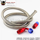 1M 3Ft An6 Nylon Stainess Steel Braided Oil Fuel Hose + 90 Deg & Straight Swivel Fittings