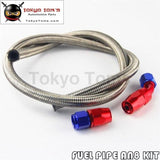 1M 3Ft An8 Stainess Nylon Steel Braided Oil Fuel Line + 45 Deg & 0 Swivel Fittings