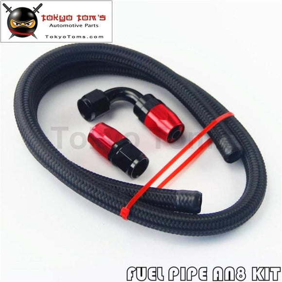1M 3Ft An8 Stainess Nylon Steel Braided Oil Fuel Line + 90 Deg & 0 Swivel Fittings