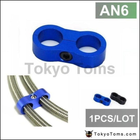 1Pc An6 13Mm Blue Braided Hose Separator Clamp Fitting Adapter (Fuel Oil) Oil Cooler