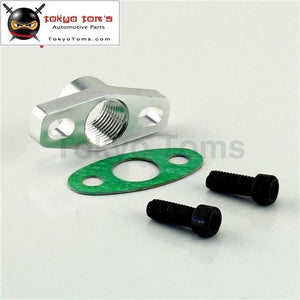 1Pcs Aluminum Turbo Oil Drain Flange Fits For Gt Ball Bearing Gt25R Gt28R Gt30R Gt35R Black/silver