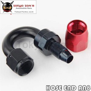 1X Aluminum An8 180 Degree Swivel Oil Fuel Line Hose End Fitting Adapter Bk / Bl