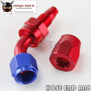1X Aluminum An8 45 Degree Swivel Oil Fuel Line Hose End Fitting Adapter Bk / Bl