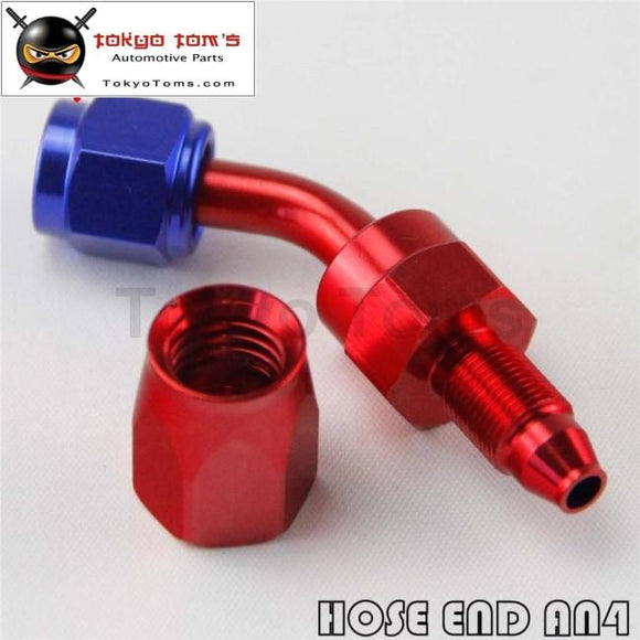 1X Universal An4 45 Degree Swivel Oil/fuel Line Hose End Fitting Adapter Bk / Bl