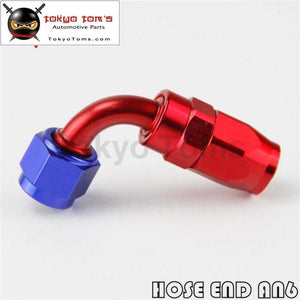 1X Universal An6 90 Degree Swivel Oil/fuel Line Hose End Fitting Adapter Bk / Bl