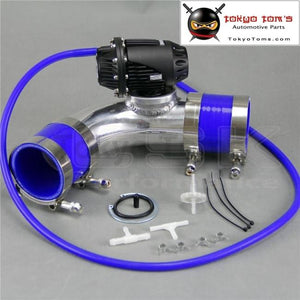 2.2557Mm 90 Degree Flange Pipe +Sqv Blow Off Valve Bov Iv 4 Black + Silicone Hose Kit Blue