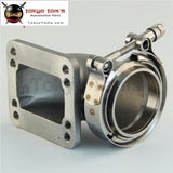 2.5 Vband 90Degree Stainess Ss Cast Turbo Elbow Adapter Flange+Clamp For T3 T4 Turbocharger Aluminum