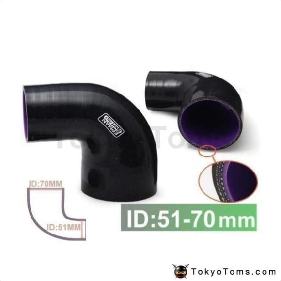 2-2.75 51Mm-70Mm 4-Ply Silicone 90 Degree Elbow Reducer Hose Black For Bmw F20 1 Series