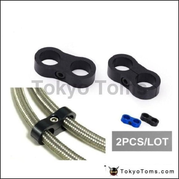 2 Black Universal - An10 Billet Oil/fuel/water Hose Turbo Separator Divider Clamp Oil Cooler