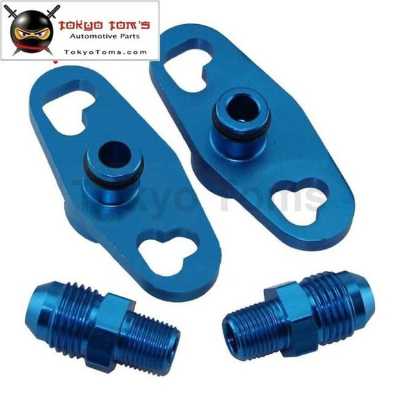 2 Pcs Fuel Rail Adapter With An6 Tail For Mitsubishi Evo 4Up Toyota Nissan Subaru Black/blue