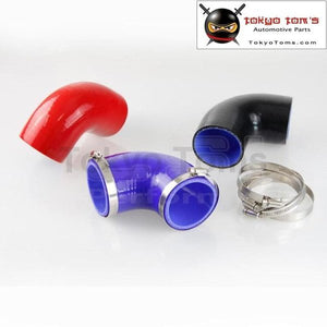 2 To 2.5 51Mm - 64Mm Silicone 90 Degree Elbow Reducer Turbo Pipe Hose+Clamps