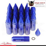 20Pcs Spiked Extended Tuner 60Mm Lug Nuts Wheels / Rims M12X1.25 Aluminum Blue/ Black Red