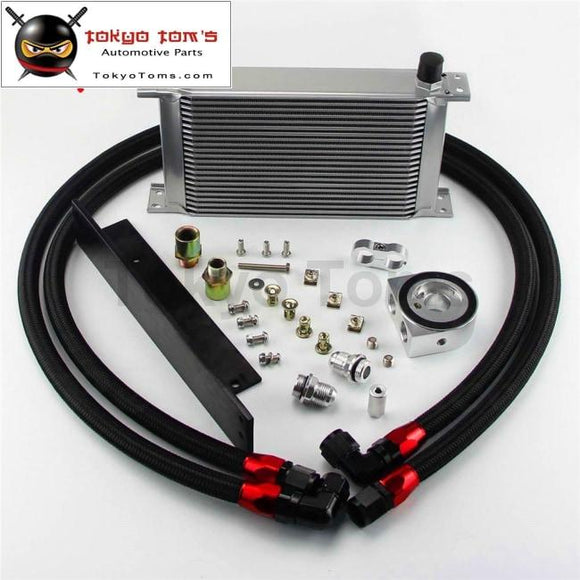 22 Row An10 Bolt On Oil Cooler Kit Fits For Nissan 03-08 350Z Fairlady 09-14 370Z Black / Silver Oil