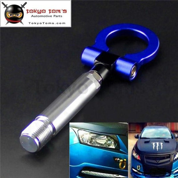 24Mm T2 Aluminum Racing Screw Cnc Tow Towing Hook Fit Toyota Yaris 07-11 Blue