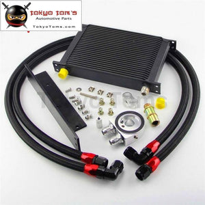 25 Row An10 Bolt On Oil Cooler Kit Fits For Nissan 03-08 350Z Fairlady 09-14 370Z Black / Silver Oil