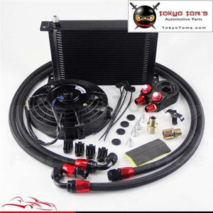 25 Row An8 Engine Oil Cooler+ Filter Adapter + Oil Hose 7 Electric Fan Kit