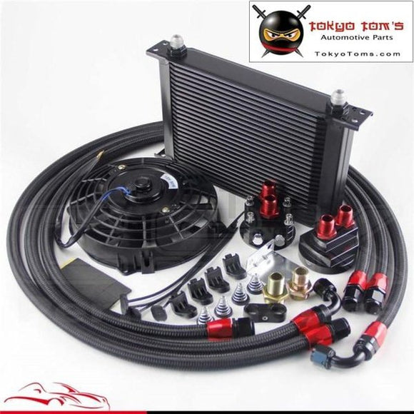 25 Row An8 Engine Oil Cooler /filter Relocation Hose + 7 Electric Fan Kit Bk