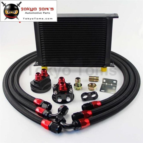 28 Row An10 Universal Engine Transmission Oil Cooler British+Relocation Kit Black