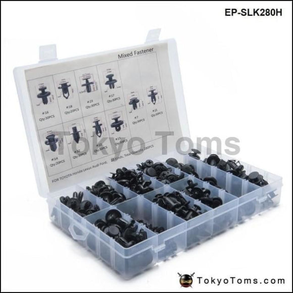 280Pcs/lot Mixed Fastener Clip And Tool Car Fender Bumper Rivet Fixed For Toyota Honda Lexus Audi