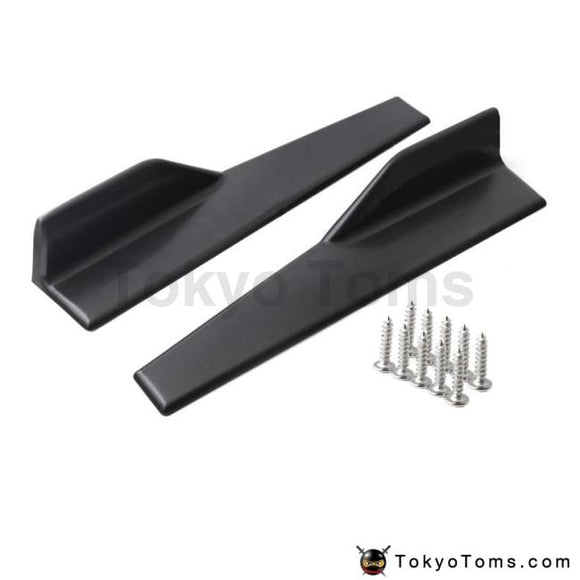 2Pcs 45Cm Universal Black Carbon Fiber Side Skirt Rocker Splitters Winglet Wings Canard Diffuser