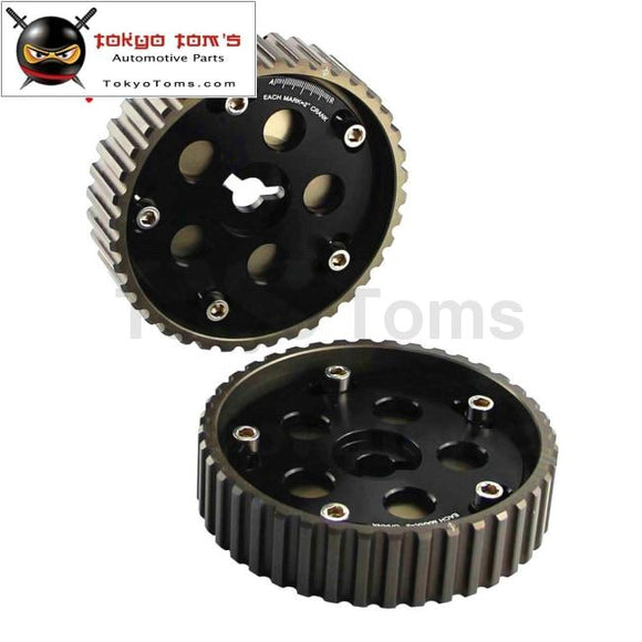 2Pcs Adjustable Cam Gears For Suzuki Swift Gti G13B Pulley Black