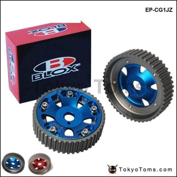 2Pcs Adjustable Cam Gears Pulley Timing Gear For Toyota Supra 1Jz 2Jz Te In & Ex (Red Blue)
