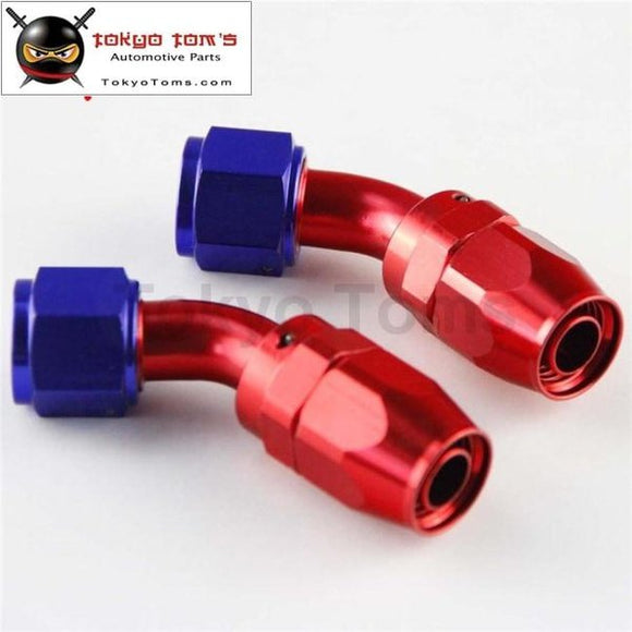 2Pcs An10 10-An 45 Degree Swivel Hose End Fitting / Oil Fuel Line Adapter Blue Black