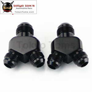 2Pcs An10*an8*an8 Y Block Shape Male - Reducer Fittings Adaptor Black