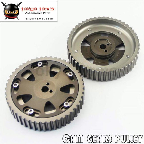 2Pcs Cam Gear Pulley Kit Fit For Mitsubishi Lancer Evo 1-9 Eclipse Dsm 4G63 Gray